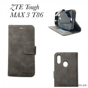 Soft Feeling Mooncase Diary  Wallet Case Cover For Telstra  ZTE Tough MAX 3 T86  GREY