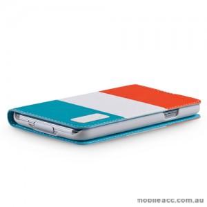 Momax Modern Flip Diary Case for Samsung Galaxy S5 - Orange / Aqua