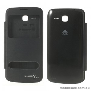 Window View Flip Cover for Huawei Ascend Y600 - Black