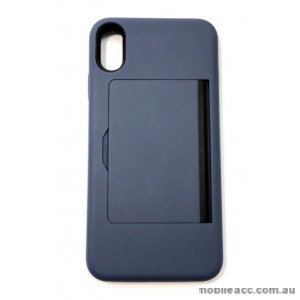 Soft Feeling Hard  Heavy Duty Case With Card Holder For iPhone XS MAX  6.5'  Navy Blue