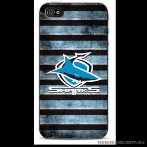 NRL Licensed Cronulla Sutherland Sharks Grunge Back Case for iPhone 4/4S