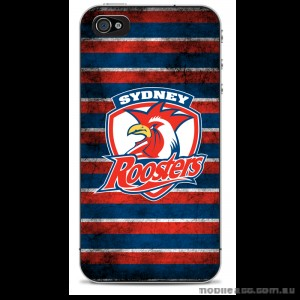NRL Licensed Sydney Roosters Grunge Back Case for iPhone 4/4S