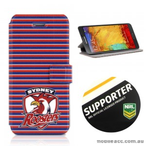 NRL Licensed Sydney Roosters Wallet Case for Samsung Galaxy Note 3