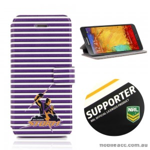 NRL Licensed Melbourne Storms Wallet Case for Samsung Galaxy Note 3