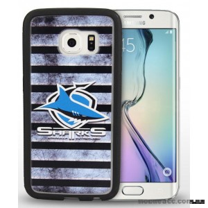 Licensed NRL Cronulla Sharks Grunge Jersey TPU 3D Case for Samsung Galaxy S6 Edge