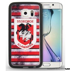 Licensed NRL St.George Dragons Grunge Jersey TPU 3D Case for Samsung Galaxy S6 Edge