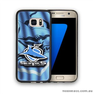 Licensed NRL Cronulla-Sutherland Sharks Grunge Jersey TPU PC 3D Case for Samsung Galaxy S7 Edge