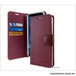 Korean Mercury Sonata Wallet Case For Note 10  Red Wine