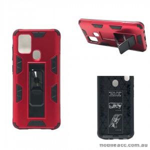 Anti Shockproof Heavy Duty With Stand With Magnet Case For Samsung A21S  Red