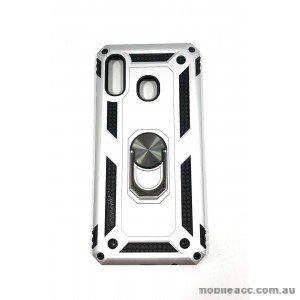 Anti Shock with Magnet Stand case for Samsung  A20 A30 Silver